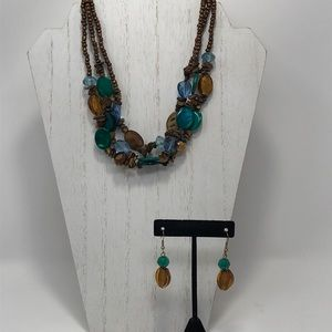 Statement glass bead necklace and earrings